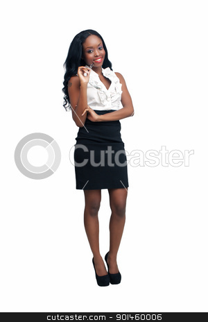 Beautiful Young Businesswoman (6) stock photo, An extraordinarily beautiful young businesswoman holding an ink pen.  Isolated on a white background with generous copyspace. by Carl Stewart