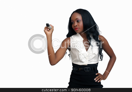 Beautiful Young Businesswoman with a Heavy Marker (1) stock photo, An extraordinarily beautiful young businesswoman holding heavy marker.  Isolated on a white background with generous copyspace. by Carl Stewart