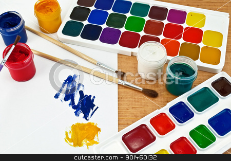 Paint and gouache stock photo, Two boxes of paint, three brushes, jars with gouache, a sheet of paper with a picture on a wooden board by rezkrr