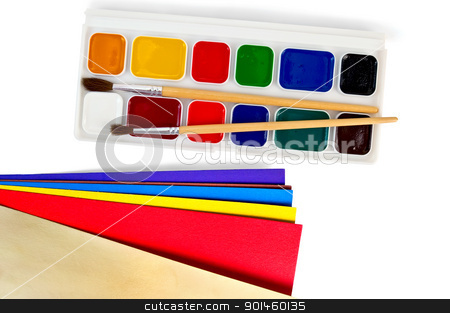Paint with colored paper stock photo, A box of paints, two brushes, color paper isolated on white background by rezkrr