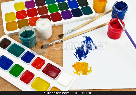 Paints, brushes and gouache on paper with stock photo, Two boxes of paint, three brushes, jars with gouache, a sheet of paper with a picture on a wooden board by rezkrr
