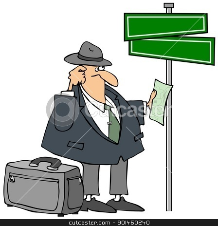 Lost Man And A Streetsign stock photo, This illustration depicts a lost businessman checking a map beneath a blank intersection sign. by Dennis Cox