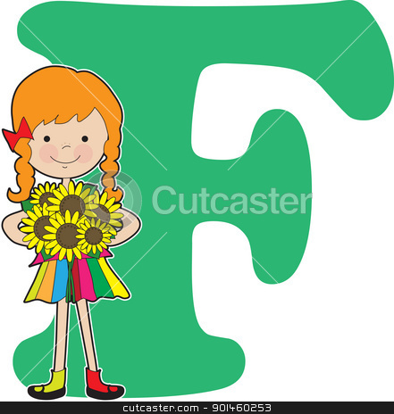 Alphabet Girl F stock vector clipart, A young girl holding flowers to stand for the letter F by Maria Bell