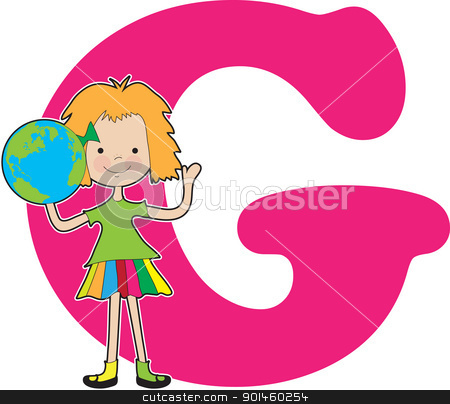 Alphabet Girl G stock vector clipart, A young girl holding a globe to stand for the letter G by Maria Bell