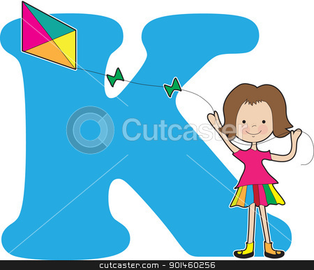Alphabet Girl K stock vector clipart, A young girl flying a kite to stand for the letter K by Maria Bell
