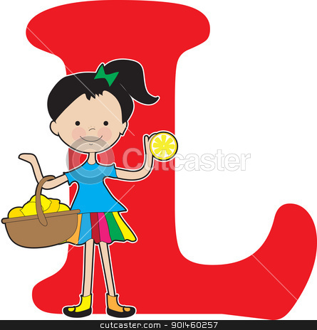 Alphabet Girl L stock vector clipart, A young girl holding a basket of lemons to stand for the letter L by Maria Bell