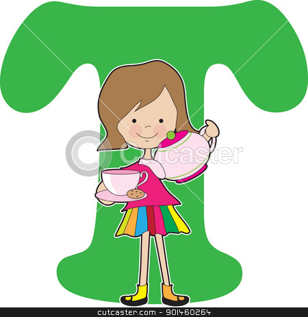 Alphabet Girl A stock vector clipart, A young girl holding apples to stand for the letter A by Maria Bell
