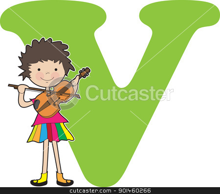 Alphabet Girl V stock vector clipart, A young girl holding a violin to stand for the letter V by Maria Bell