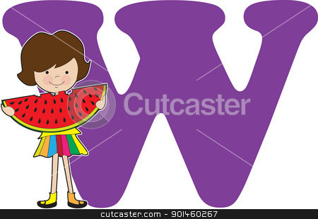 Alphabet Girl W stock vector clipart, A young girl holding a watermelon to stand for the letter W by Maria Bell