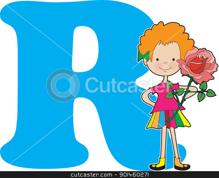 Alphabet Girl R stock vector clipart, A young girl holding a rose to stand for the letter R by Maria Bell