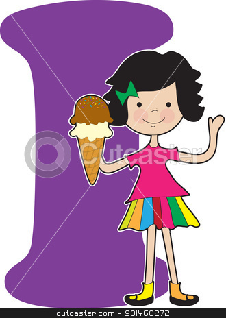 Alphabet Girl I stock vector clipart, A young girl holding an ice cream cone to stand for the letter I by Maria Bell