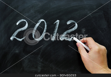 Blackboard / chalkboard with a handwriting of 2012 stock photo, Blackboard / chalkboard with a handwriting of year 2012.  by John Young