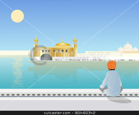 amritsar stock vector clipart, an illustration of a sikh boy sitting looking across the holy pool to the golden temple at amritsar by Mike Smith
