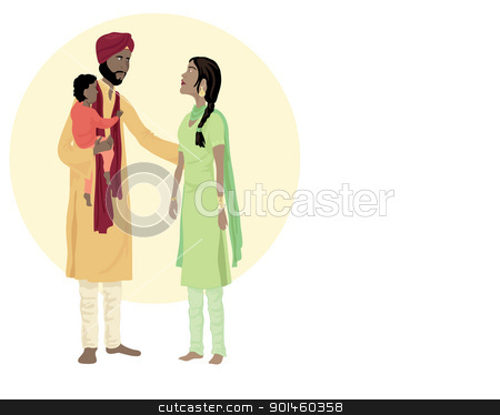 sikh family stock vector clipart, an illustration of a sikh family including a man woman and small child in traditional dress  by Mike Smith