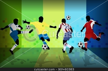 Football players stock vector clipart, Football players on abstract background, vector illustration by radubalint