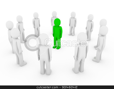 3d human circle green stock photo, 3d human circle green white business group teamwork by d3images
