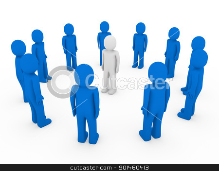 3d human circle blue white  stock photo, 3d human circle blue white business group team by d3images