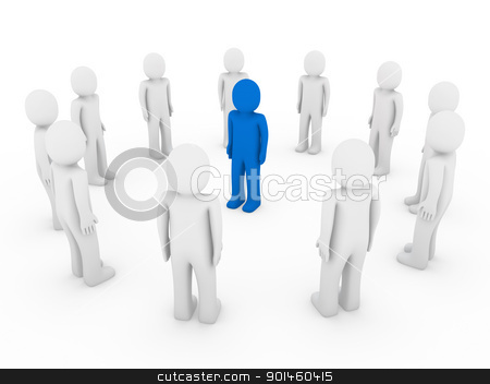 3d human circle blue stock photo, 3d human circle blue white business group teamwork by d3images