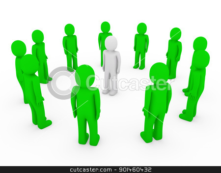3d human circle green white  stock photo, 3d human circle green white business group team by d3images