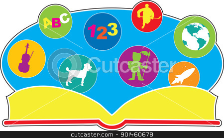 Book of Stuff stock vector clipart, Image icons float above above the pages of an open book, as a way of representing the possibilities that may be enclosed within.  by Maria Bell
