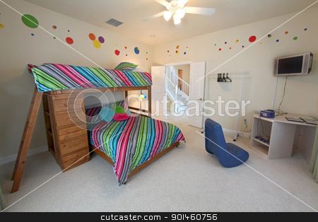 Bunk Bedroom stock photo, A Bedroom with a Bunk Bed, Interior Shot of a Home by Lucy Clark