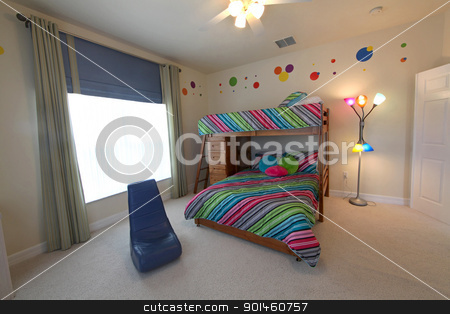 Bunk Bedroom stock photo, A Bedroom with Bunk Beds, Interior Shot of a Home by Lucy Clark