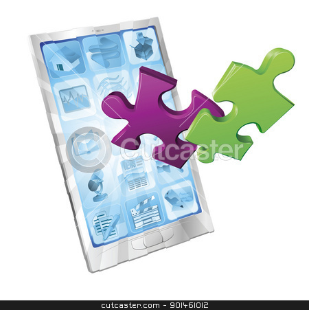 Jigsaw puzzle pieces flying out of phone stock vector clipart, Jigsaw puzzle pieces flying out of a stylish mobile phone. Phone application concept. by Christos Georghiou