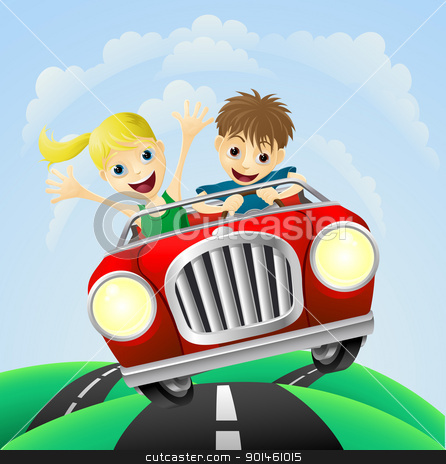 Young man and woman in car stock vector clipart, Young man and woman having fun driving their car on a road trip. by Christos Georghiou