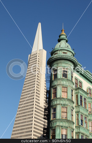 Transamerica Pyramid Building stock photo, View of the Transamerica Pyramid Building in San Francisco by Henrik Lehnerer