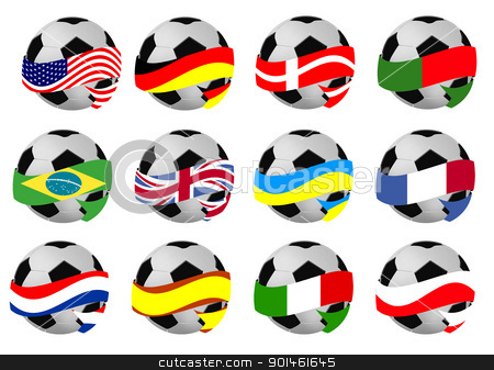 Set of soccer balls with flags stock vector clipart, Set of soccer balls wrapped in ribbon with flag of different countrys, vector illustration by radubalint