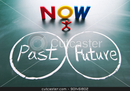 One man between past and future. stock photo, One man stands and looks  past and future. by Lawren