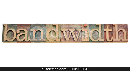 bandwidth - internet concept stock photo, bandwidth - internet concept -  isolated text in vintage wood letterpress type, stained by color inks by Marek Uliasz