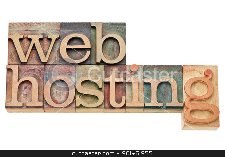 web hosting - internet concept  stock photo, web hosting - internet concept - isolated text in vintage wood letterpress printing blocks, stained by color inks by Marek Uliasz