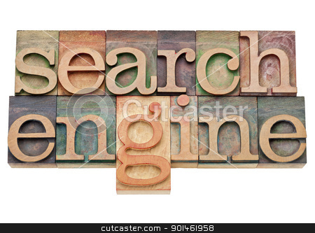 search engine - internet concept  stock photo, search engine - internet concept - isolated text in vintage wood letterpress printing blocks, stained by color inks by Marek Uliasz