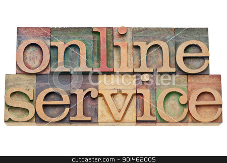 online service - internet concept stock photo, online service - internet concept - isolated text in vintage wood letterpress printing blocks, stained by color inks by Marek Uliasz