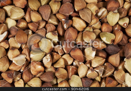 buckwheat kasha at life-size stock photo, life-size macro of buckwheat kasha roasted whole grain by Marek Uliasz