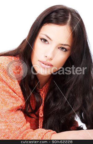 beautiful young girl in a orange wool sweater stock photo, beautiful young girl in a orange wool sweater, isolated on white background by iMarin