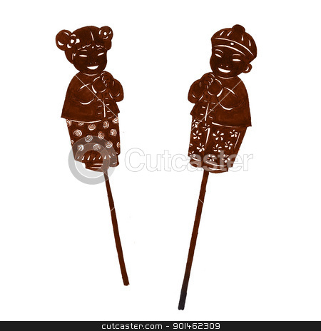 Chinese Doll painting stock photo, A silhouette of chinese boy and girl by Alice Heart