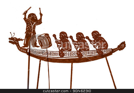 Chinese Boat Painting stock photo, A silhouette of dragon boat festival by Alice Heart