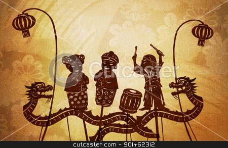 Chinese Dolls stock photo, A silhouette of complete chinese doll by Alice Heart
