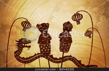 Chinese Doll stock photo, A silhouette of chinese dragon, lantern, boy and girl doll by Alice Heart