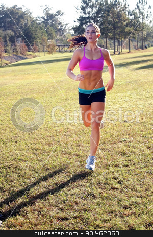 Beautiful Brunette Jogging Outdoors (1) stock photo, A lovely young athlete with remarkable abdominal musculature jogging outdoors.  Generous copyspace. by Carl Stewart
