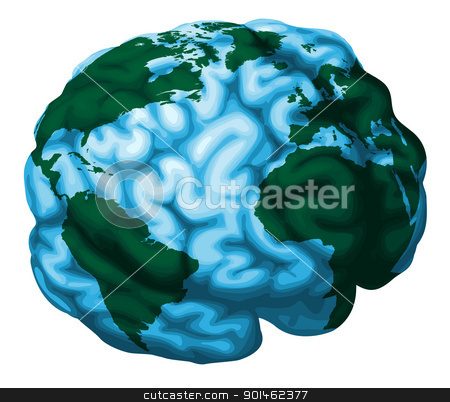 Brain world globe illustration stock vector clipart, A conceptual illustration of a world globe in the shape of a human brain by Christos Georghiou