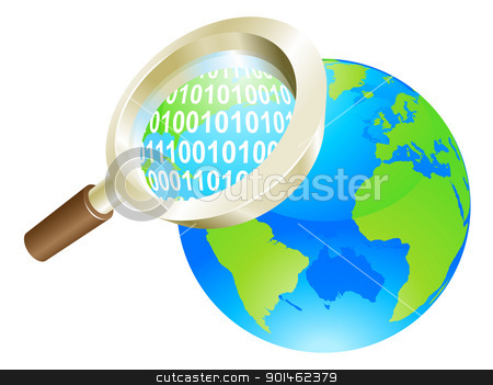 Magnifying glass binary data world globe concept stock vector clipart, Conceptual illustration of magnifying glass binary data world globe by Christos Georghiou