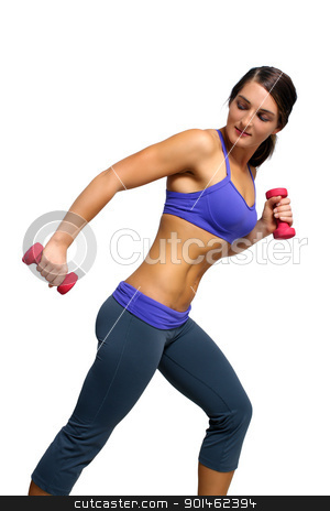 Beautiful Brunette Athlete with Hand Weights (2) stock photo, A lovely young brunette with extraordinary abdominal musculature works out with hand weights; profile view. by Carl Stewart