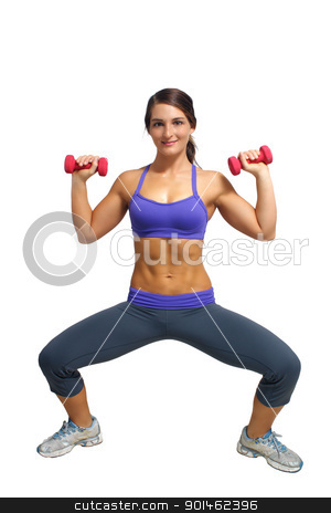 Beautiful Brunette Athlete with Hand Weights (4) stock photo, A lovely young brunette with extraordinary abdominal musculature works out with hand weights. by Carl Stewart