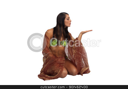 Beautiful Athletic Bikini-Clad Hostess (1) stock photo, A lovely young brunette with remarkable abdominal musculature holds her hand out, palm up, isolated on a white background with generous copyspace. by Carl Stewart