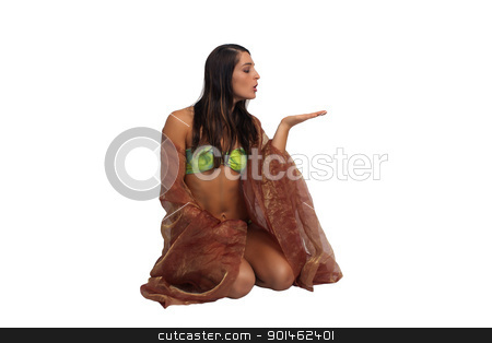 Beautiful Athletic Bikini-Clad Hostess (2) stock photo, A lovely young brunette with remarkable abdominal musculature holds her hand out, palm up, isolated on a white background with generous copyspace. by Carl Stewart