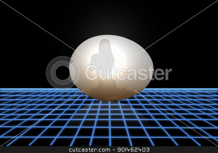 Girl Inside an Egg stock photo, A glowing egg showing the silhouette of a female inside it on a futuristic grid floor. by Carl Stewart