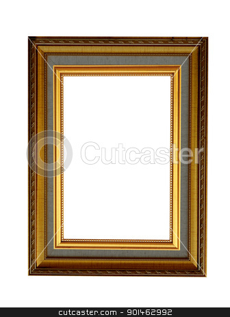 ancient style golden wood photo image frame isolated  stock photo, ancient style golden wood photo image frame isolated  by Komkrit Muangchan